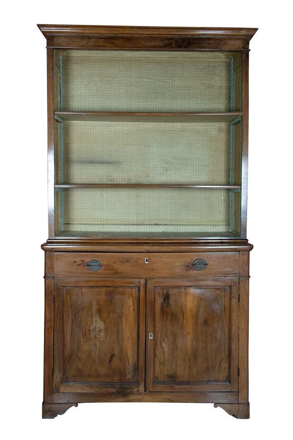 2 body walnut bookcase