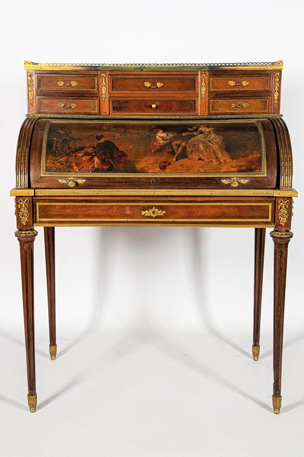 Louis XVI line roller desk in mahogany