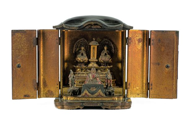 Temple of the East Indies in decorated black lacquer