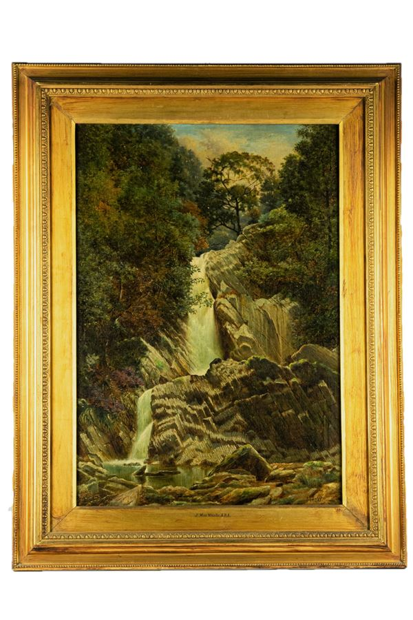 """""""Landscape with waterfall"""". Signed"""
