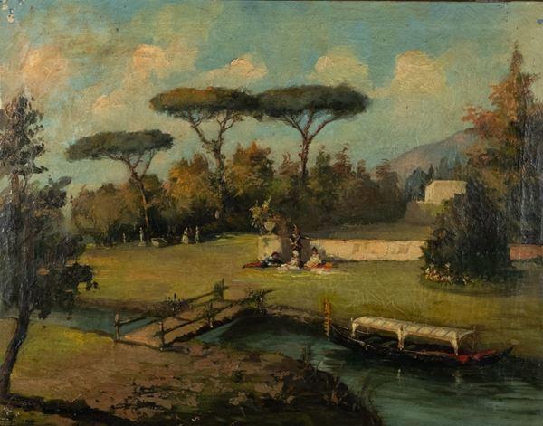"""Pittore Veneto Inizio XIX Secolo - """"Lunch on the grass in the park of the villa with stream and gondola"""""""