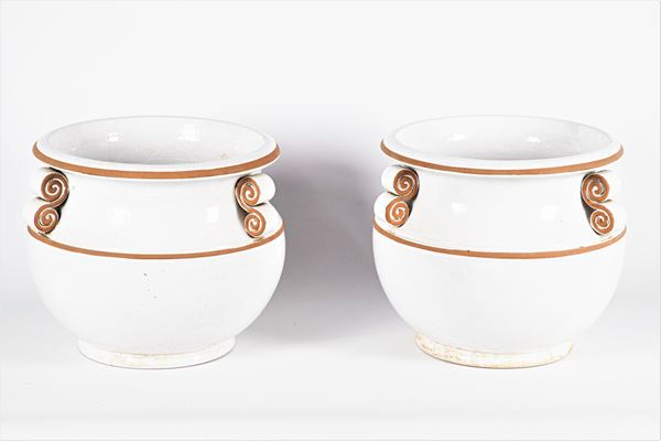 Pair of vase holders in white glazed terracotta
