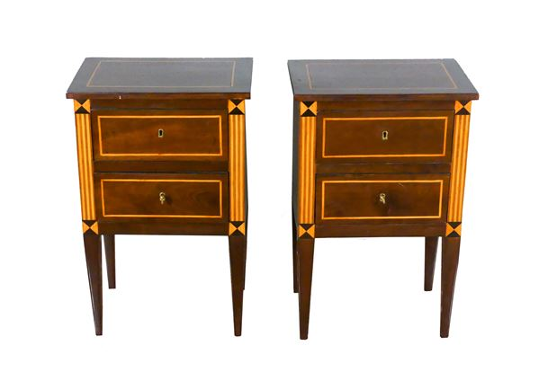 Pair of Louis XVI Tuscan bedside tables in walnut