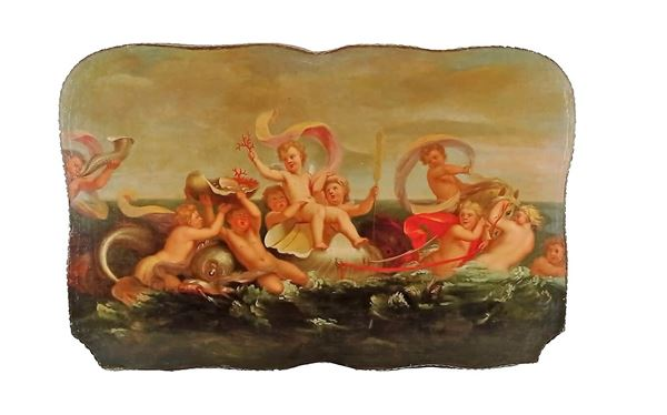 """Scuola Bolognese XVIII Secolo - """"Marina with allegory of cherubs, dolphins and shells"""""""