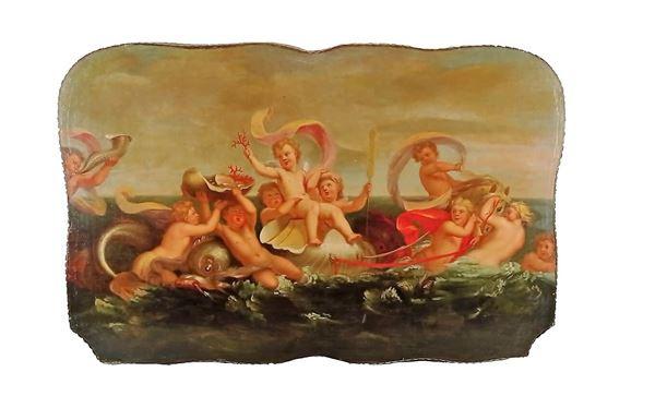"""Scuola Bolognese XVIII Secolo - """"Marina con allegoria di putti, delfino e conchiglie"""""""