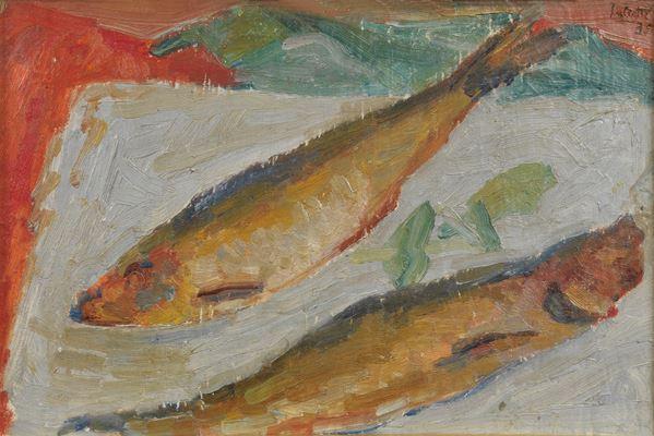 "Alberto Salietti - ""Still life of fish"". Signed and dated"