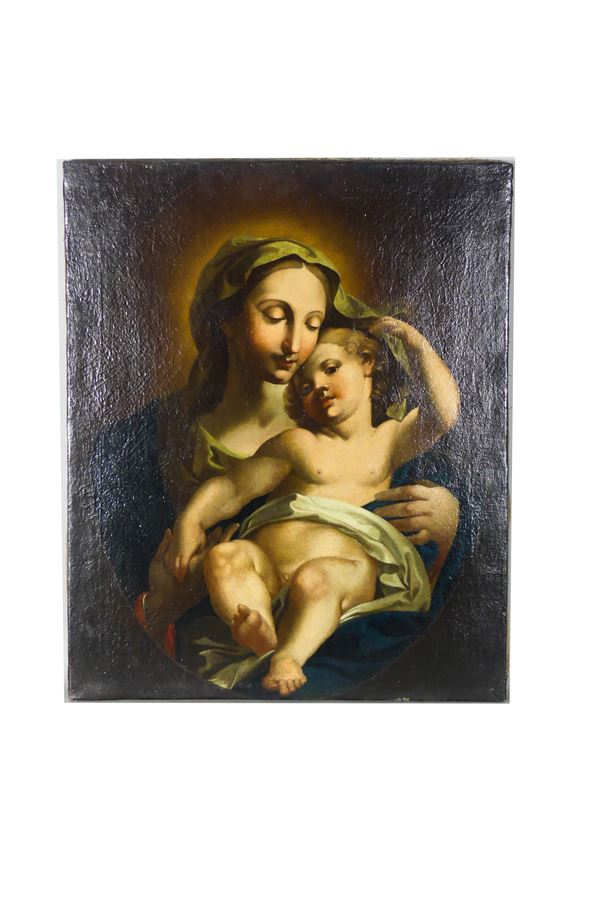 "Maestro Napoletano XVII Secolo - ""Madonna con Bambino"""