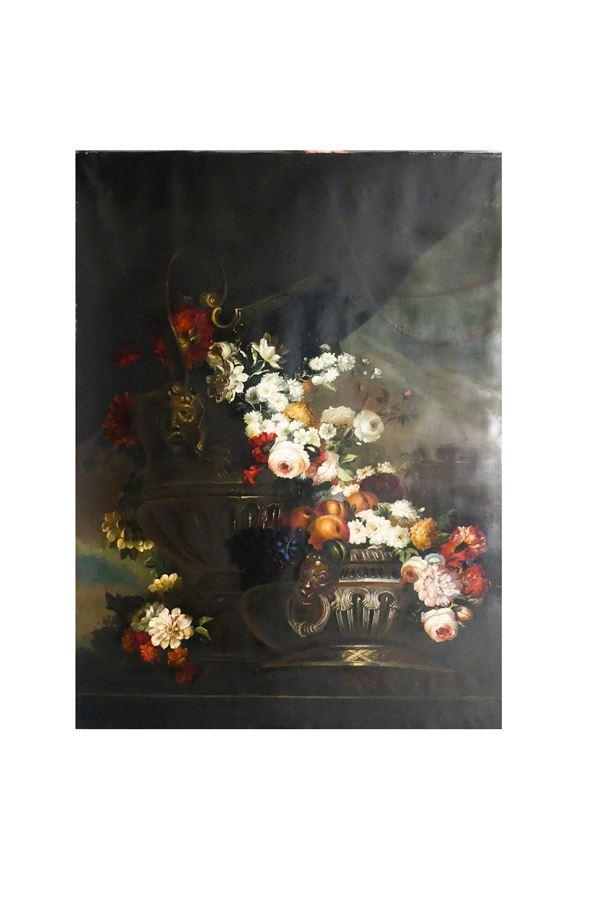 """Scuola Italiana Fine XIX - Inizio XX Secolo - """"Natura morta di fiori, frutta ed anfore"""""""