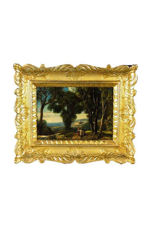"""Pittore Romano XIX Secolo - """"Paesaggio con bosco e contadini, sullo sfondo il lago di Bracciano con il castello Odescalchi"""""""