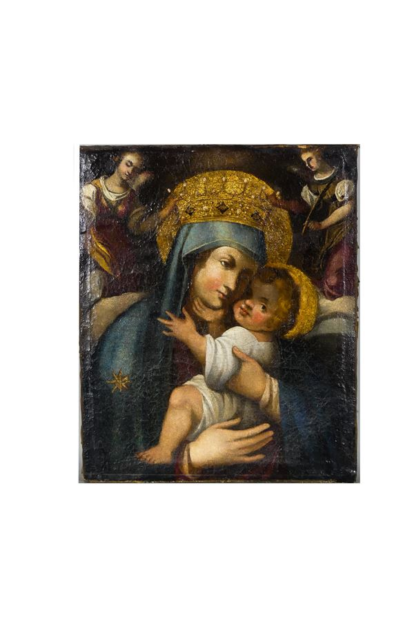 """Pittore Napoletano XVII Secolo - """"Our Lady of Grace with the Child"""""""