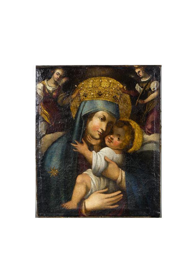 """Pittore Napoletano XVII Secolo - """"La Madonna delle Grazie con il Bambino"""""""
