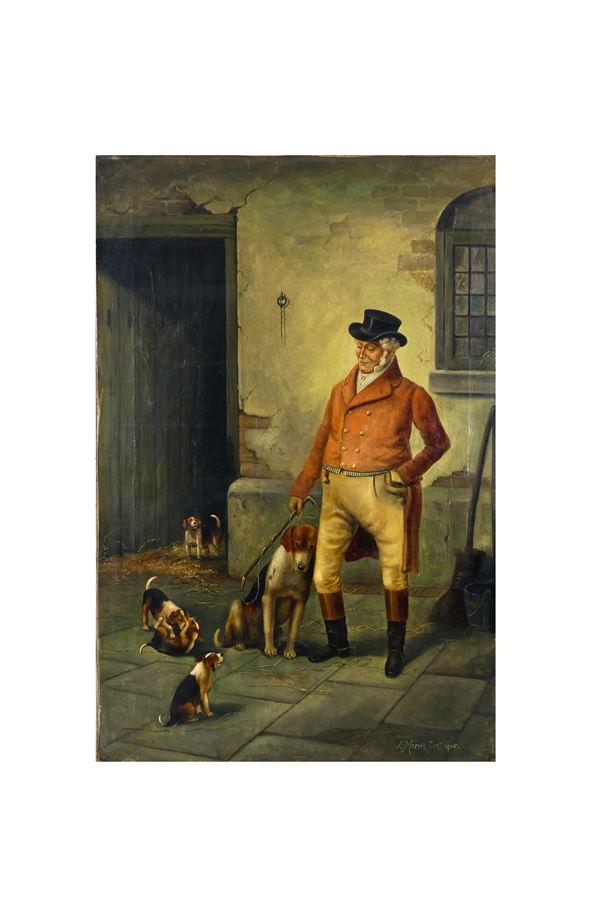 """Morris J. (Inghilterra XIX - XX Secolo) - """"Nobiluomo con cani da caccia"""". Firmato e datato 1905"""