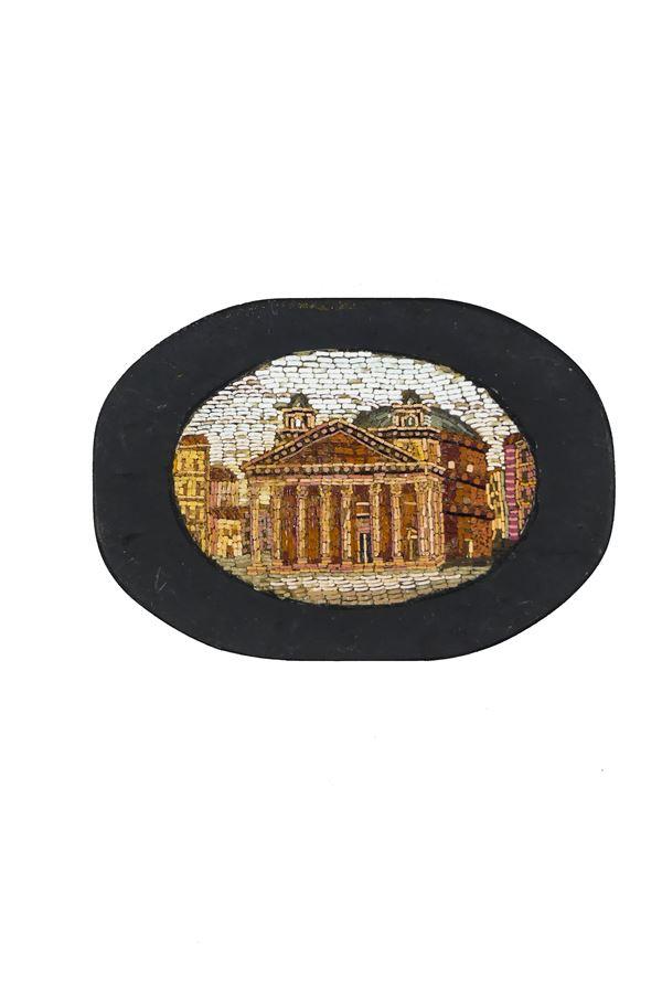 """Fermacarte Romano in marmo nero del Belgio con al centro micromosaico """"Il Pantheon"""""""