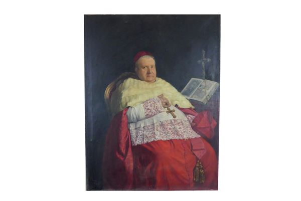 "Juan Josè Puerto Villanueva Pittore XIX Secolo - ""Portrait of a Cardinal in an armchair"". Signed and registered in Rome 1884"