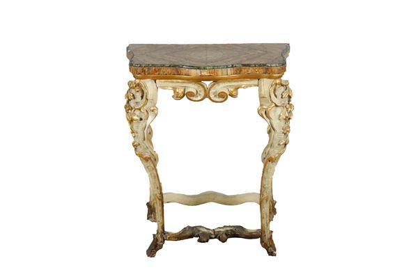 Consolle Marchigiana Luigi XV in legno laccato e dorato
