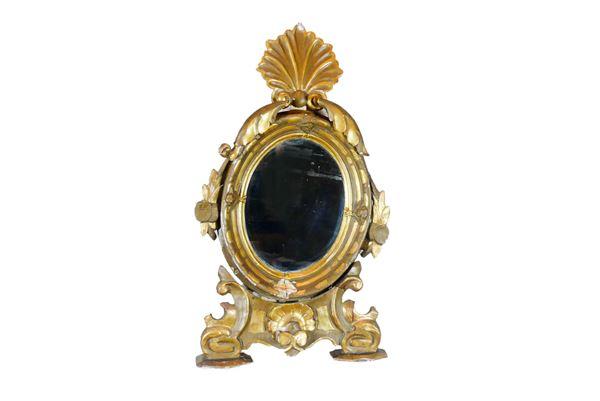 Specchiera ovale da tavolo in legno laccato e dorato