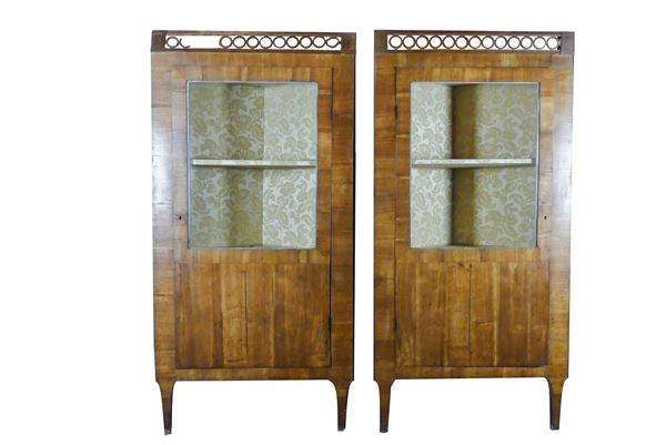 Pair of Louis XVI Tuscan corner cabinets in cherry
