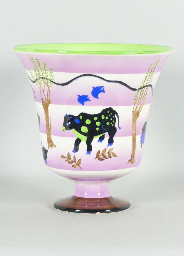 """Lenci ceramic vase """"Grazing animals"""""""