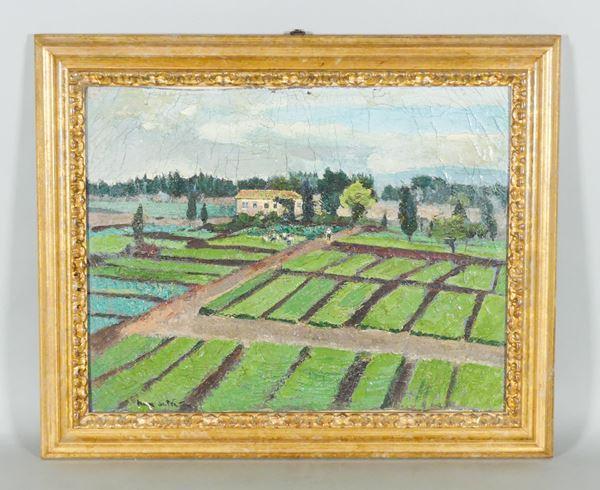 """Pittore Italiano Fine XIX - Inizio XX Secolo - """"Landscape with farmhouse and peasants in the fields"""". Signed"""