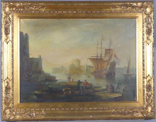 "Scuola Italiana Inizio XX Secolo - ""Marina with a view of the port, vessel and figures"""