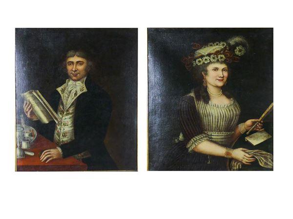 """Scuola Toscana Fine XVIII - Inizio XIX Secolo - """"Nobleman and noblewoman"""""""