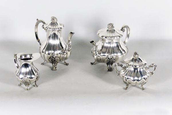 Servizio da tè e caffè in argento (4pz). Gr 1790