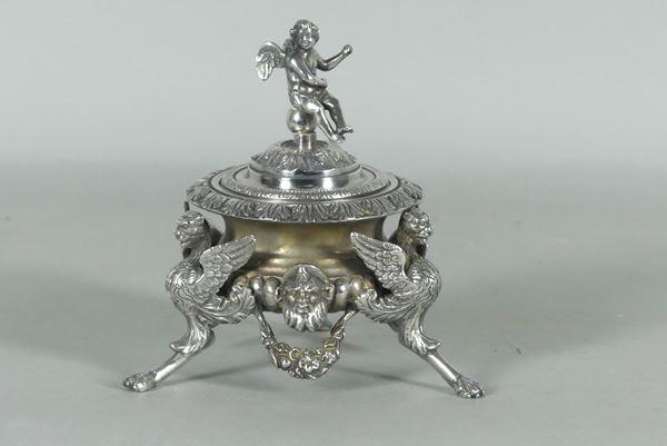 Tripod sugar bowl in silvered bronze