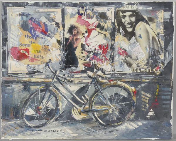 """Nick De Angelis - """"Bicycle with posters"""". Signed"""