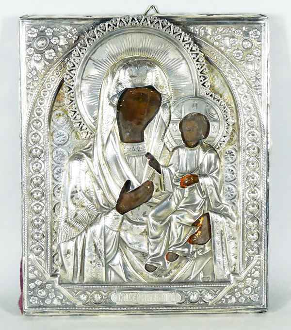 "Russian icon ""Mother of God of Iver"" with silver bridle"