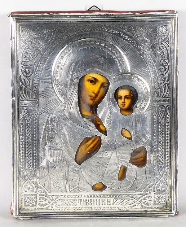 """Piccola Icona Russa """"Madre di Dio di Iver"""" con rizza in argento cesellato"""