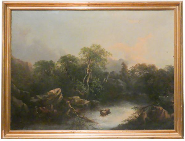 """Pittore Austriaco XIX Secolo - """"Woodland landscape with deer and stream"""""""