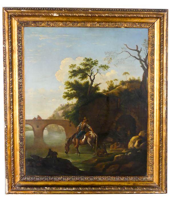 "Scuola Italiana del XVII Secolo - ""Landscape with traveler on horseback and bridge"""