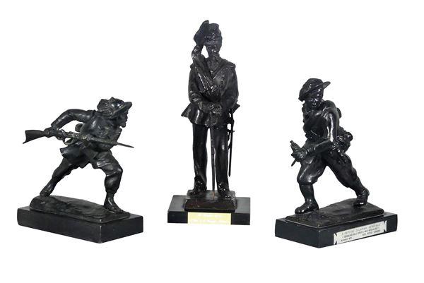"Three ""Bersaglieri e Artigliere"" sculptures in patinated bronze"