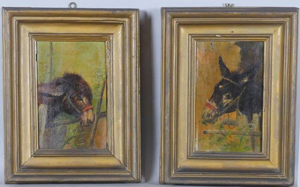 """Pittore Napoletano XIX Secolo - """"Asinelli"""" pair of small oil paintings on tablet"""