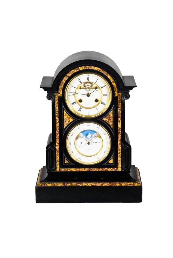 Antique table clock with moon phases in the shape of a temple in black Belgian and red brecciated marble