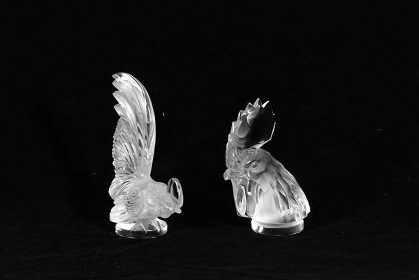 """Due Sculture in cristallo Lalique """"Gallo e Pappagallo"""""""