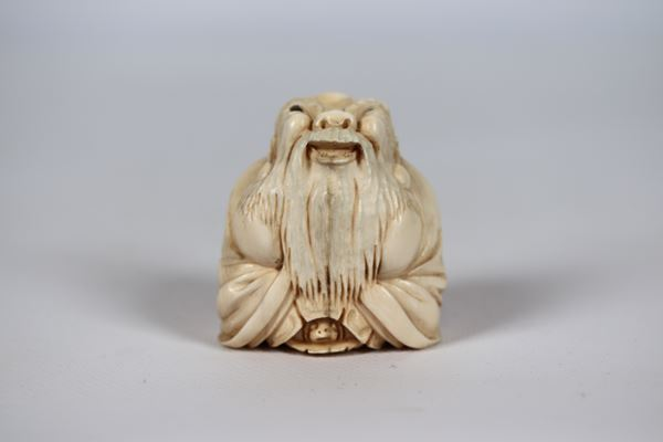 """Ancient small Chinese ivory sculpture """"Santone with turtle"""""""