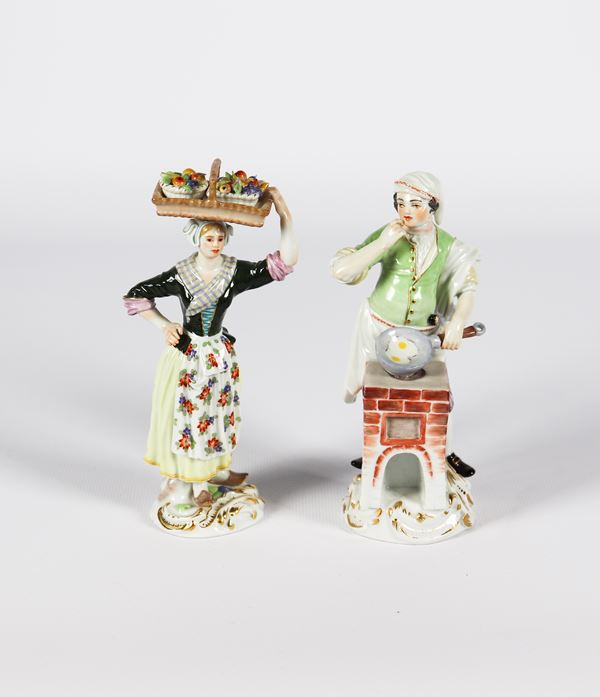 """Pair of small polychrome Meissen porcelain sculptures """"Fruit seller and cook"""""""