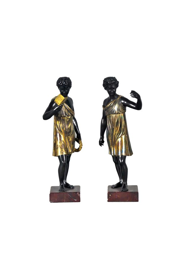 """Pair of Ancient French Sculptures """"Vestal and Poet"""" in patinated and gilded bronze"""