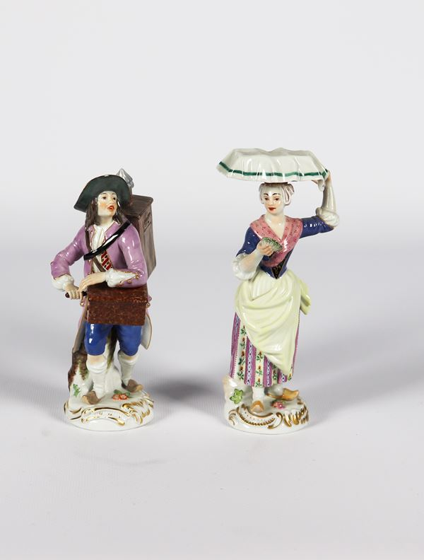 "Pair of small Meissen porcelain sculptures ""Organ player and mollusc seller"""