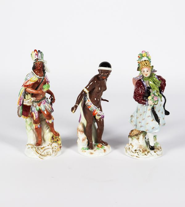 "Three small Meissen glazed polychrome porcelain sculptures ""Europe, Africa and America"""