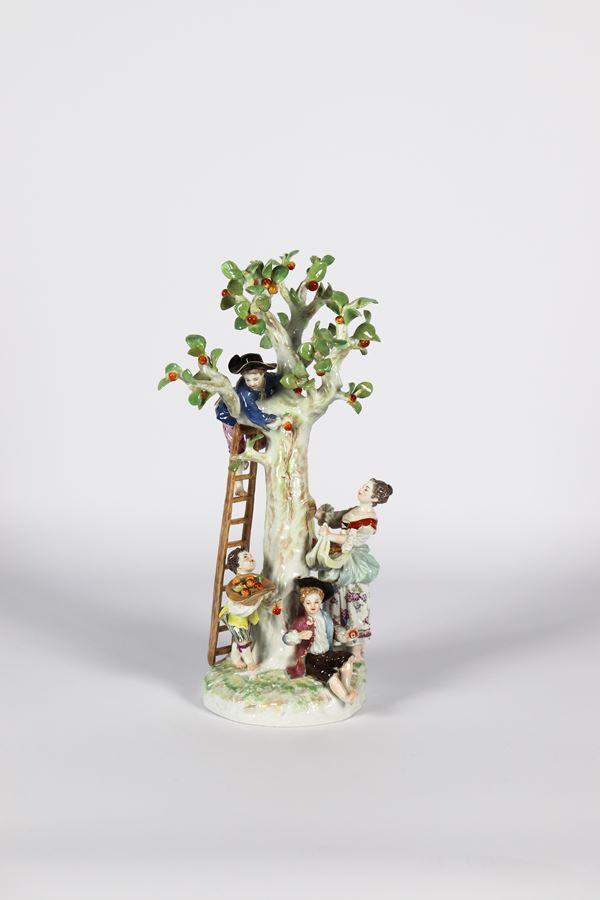 "Meissen enamelled polychrome porcelain group ""The apple harvest"""