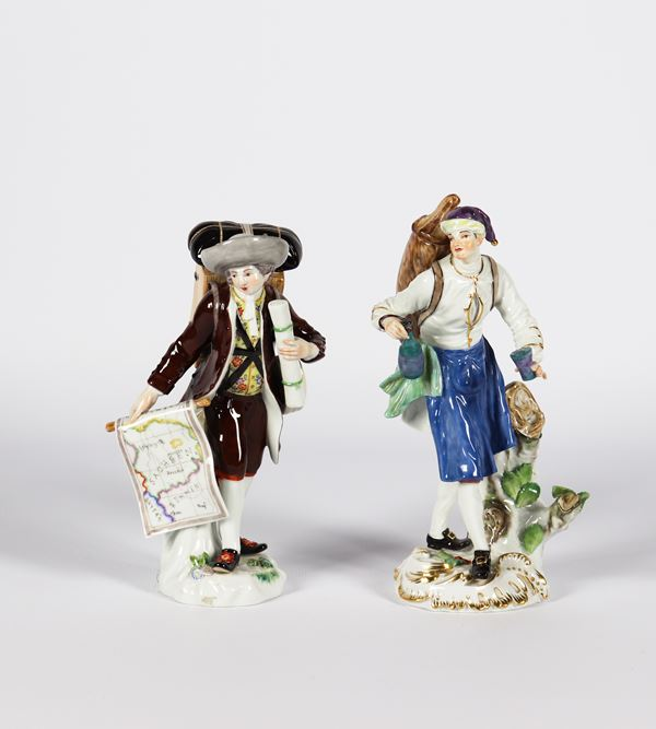 """Pair of sculptures in polychrome and enamelled porcelain Meissen """"Explorer and wine seller"""""""