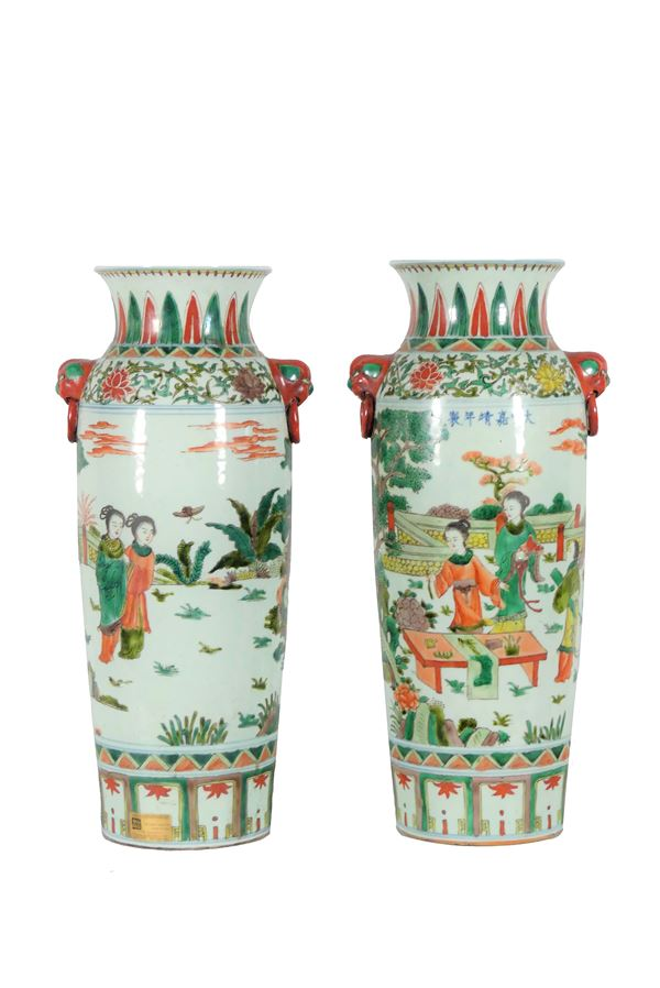 Pair of Chinese Green Family Vases in glazed relief porcelain