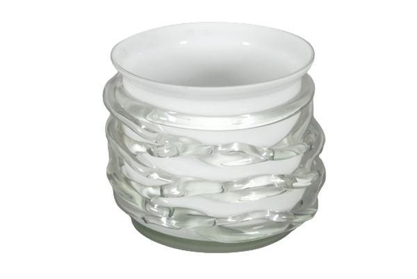 Cachepot in cristallo e vetro soffiato di Murano