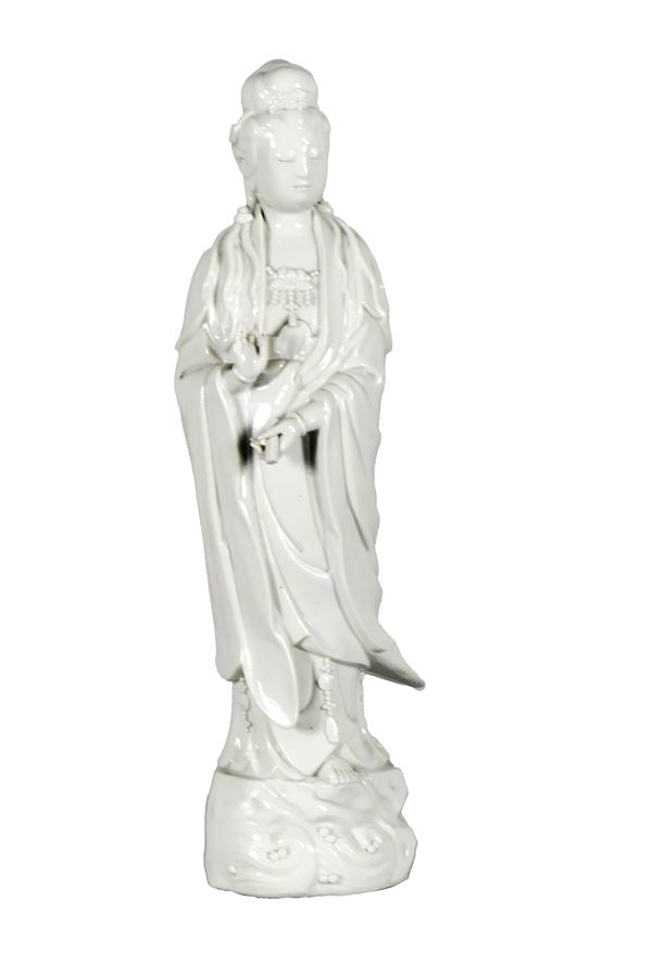 """Chinese """"Guanyin"""" sculpture in white porcelain"""