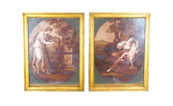 Pair of Neoclassical Mythological Allegories painted in tempera and lean oil on paper