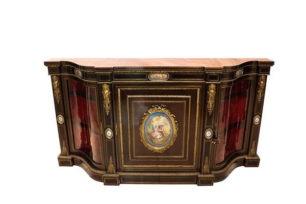 French Serpentine Napoleon III servant in mahogany