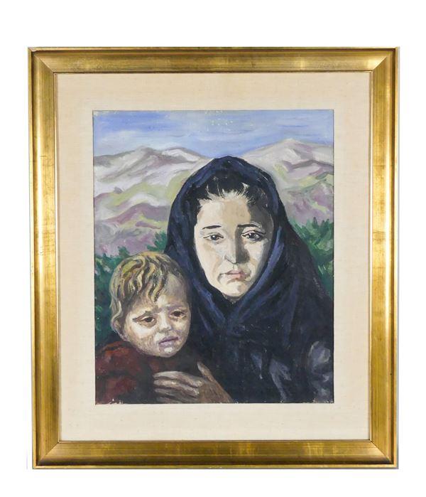 """Carlo Levi - """"La sposa e il bambino"""". Firmato e datato 1953 sul retro della tela"""