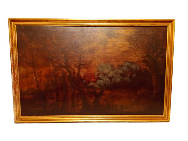 "Scuola Italiana XX Secolo - ""Autumn forest at sunset"" oil painting on canvas"
